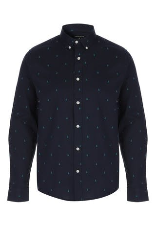 Mens Navy Christmas Print Long Sleeve Shirt
