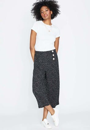 Womens Black and White Dot Print Culottes