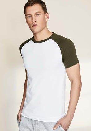 Mens White and Khaki T-Shirt