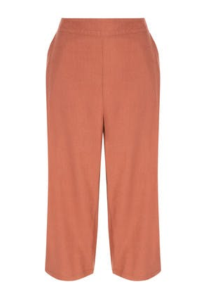 Womens Rust Linen Mix Culottes
