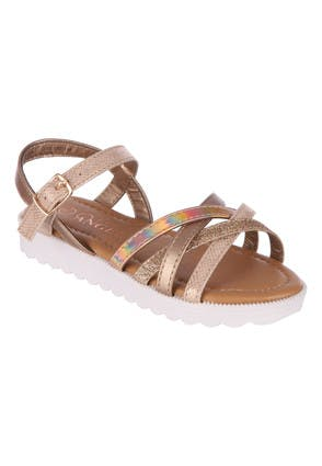 Younger Girls Gold Structured Sandal