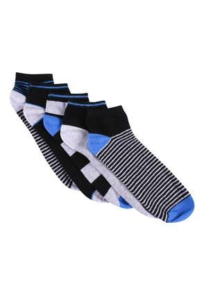 Mens 5pk Blue and Grey Stripe Trainer Socks