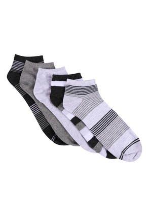 Mens 5pk Grey Stripe Trainer Socks