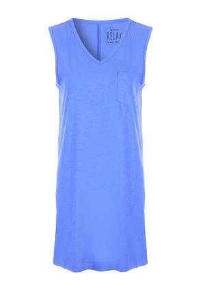 Womens Blue Sleeveless V-Neck Nightdress