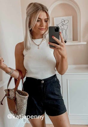 Womens Black Linen Shorts