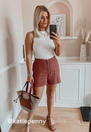 Womens Rust Linen Shorts