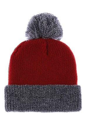 Mens Red Contrast Cuff Beanie Hat