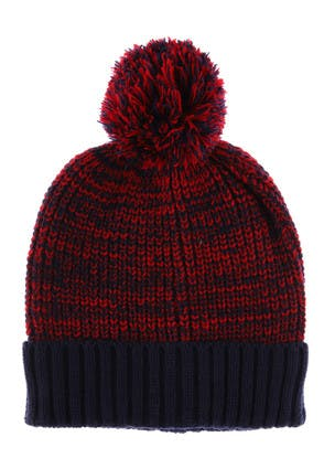 Mens Navy And Red Contrast Cuff Beanie Hat