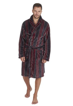 Mens Black Stripe Shawl Collar Dressing Gown