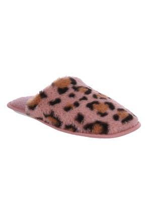 Womens Pink Leopard Print Slippers