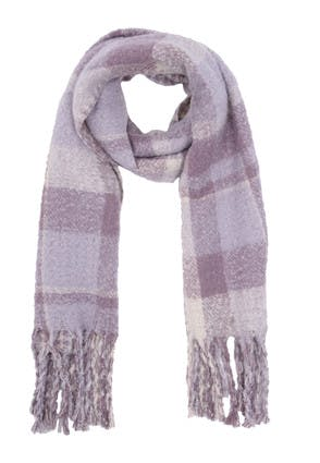Womens Lilac Check Oversized Scarf