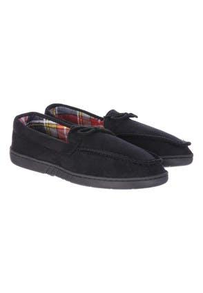 Mens Black Moccasin Slippers
