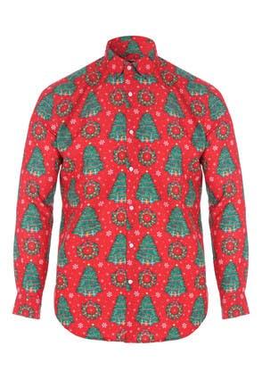 Mens Red Novelty Christmas Shirt