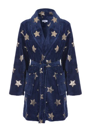 Womens Navy Gold Star Dressing Gown