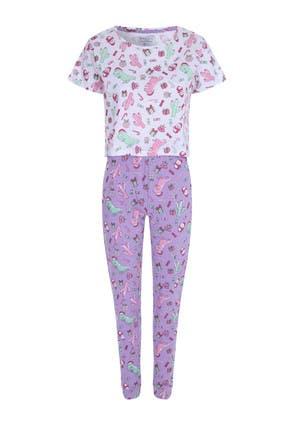 Womens Christmas Dinosaur Pyjama Set