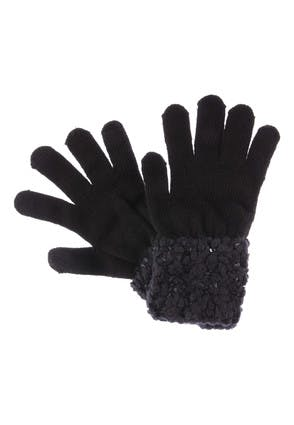 Womens Black Borg and Sequin Cuff Gloves