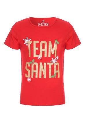 Older Girls Red Team Santa T-Shirt