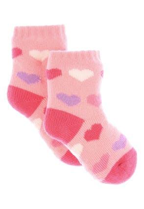 Baby Girls Pink Heart Gripper Socks