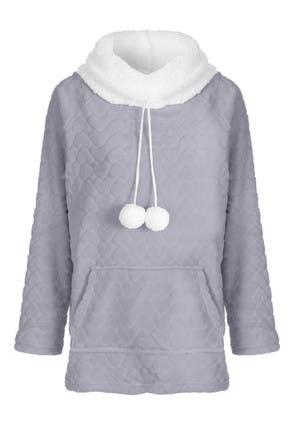 Womens Grey Fleece Heart Embossed Lounge Top