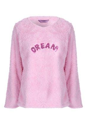 Womens Pink Fleece Slogan Lounge Top