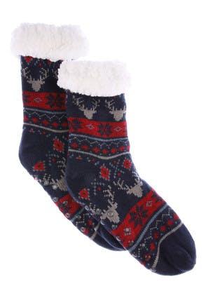 Boys Navy Fairisle Slipper Socks