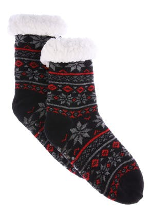 Boys Black Fairisle Slipper Socks