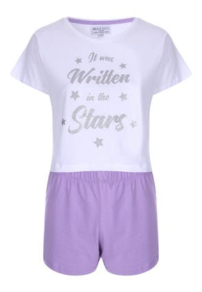 Womens Star Slogan T-Shirt and Short Pyjama Set