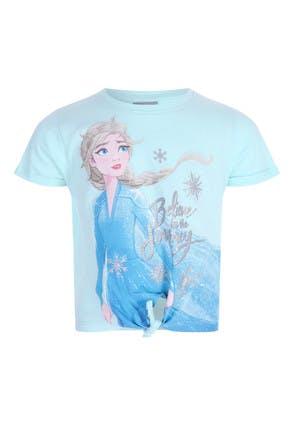 Younger Girls Blue Frozen Elsa Tie Front T-Shirt
