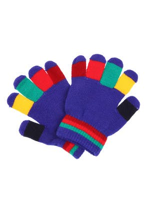 Kids Blue Multi-Colour Gloves