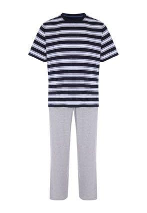 Mens Grey Stripe Pyjama Set