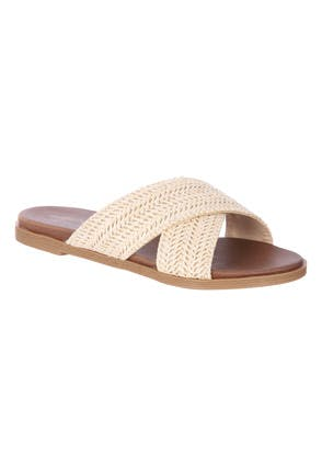 Womens Nude Woven Mule Sandals