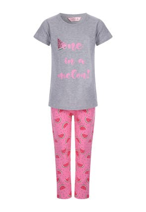 Girls Grey and Pink Melon Pyjama Set