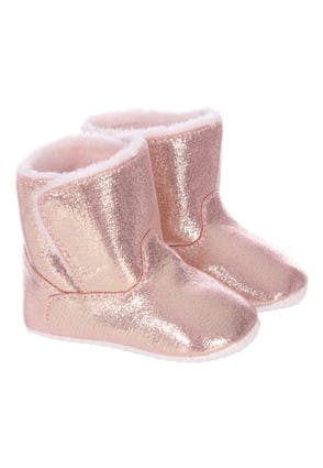 Baby Girls Pink Metallic Booties
