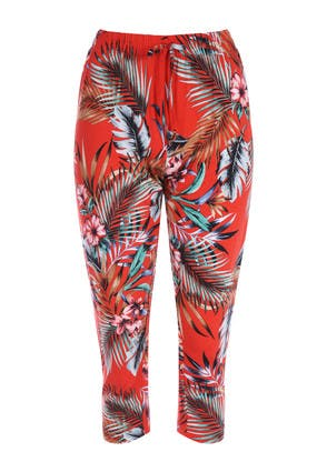 Womens Red Cropped Palm Print Trousers