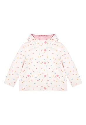 Younger Girls Cream Heart Print 3-in-1 Rain Coat