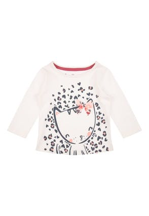 Baby Girls Cream Cat Long Sleeved Top