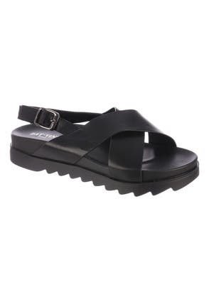 Womens Black Crossover Chunky Sole Sandals