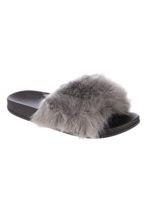 Womens Grey Fluffy Fur Sliders