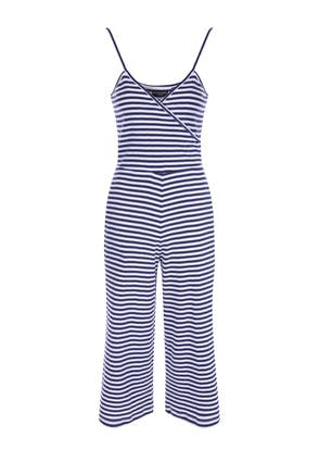 Womens Blue and White Striped Jumpsuit