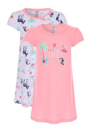 Girls 2pk Pink and White Tropical Nightdress