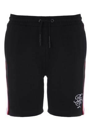 Mens Black Block Tape Sweat Shorts