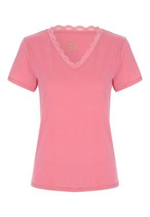 Womens Coral Lace Trim Pyjama Top