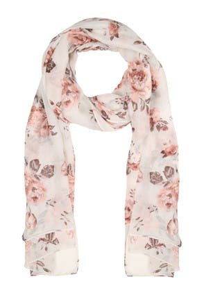 Womens Cream and Pink Rose Scarf
