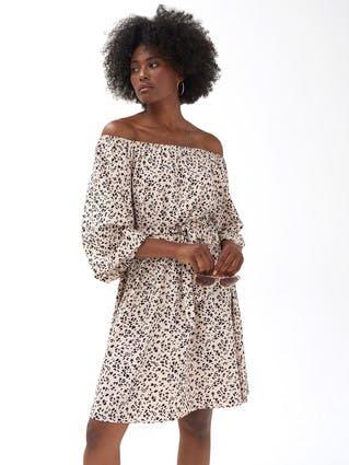 Womens Animal Print Bardot Dress