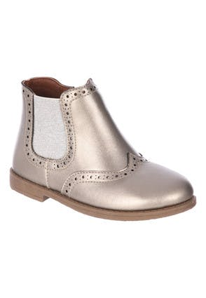 Younger Girls Pewter Brogue Chelsea Boots