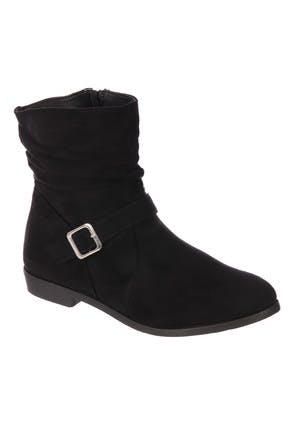 Womens Black Suedette Slouch Boots