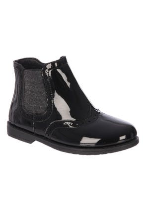 Younger Girls Black Brogue Chelsea Boots