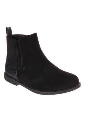 Older Girls Black Suedette Chelsea Boots