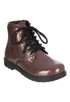 Younger Girls Rose Gold Patent Lace-Up Boots