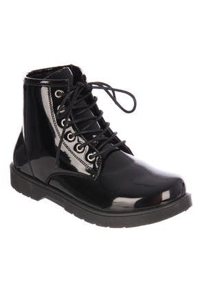 Younger Girls Black Patent Lace-Up Boots